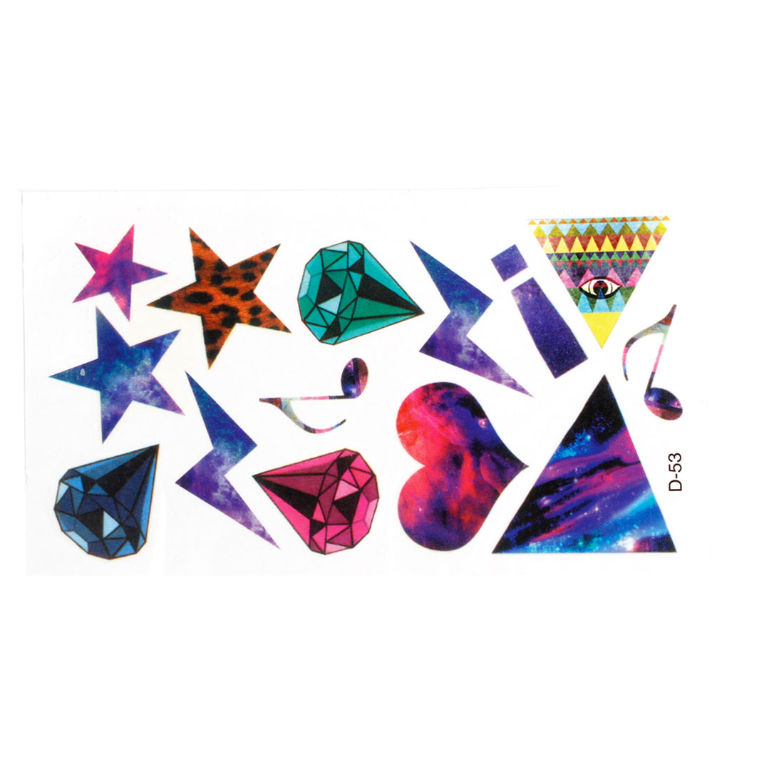 Skin Decorative Stars Diamond Pattern Transfer Tattoos Sticker Multicolor