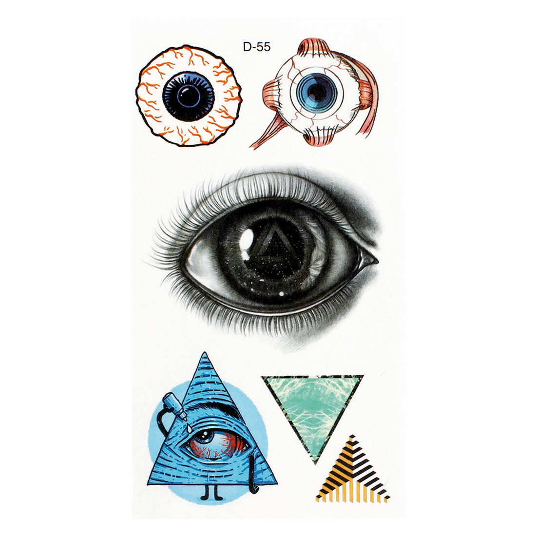 Colorful Eyes Triangle Pattern Temporary Transfer Tattoos Stickers