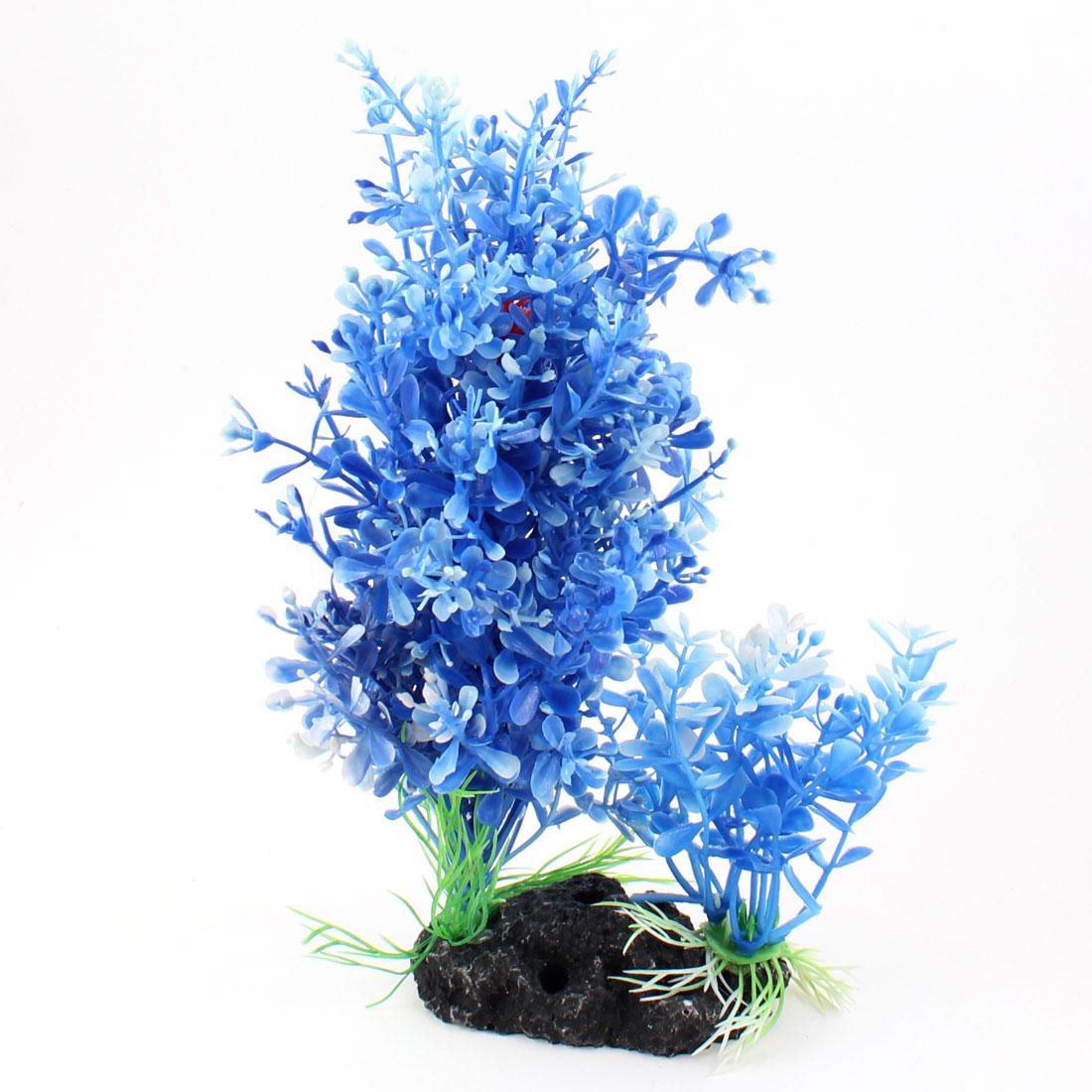 "Dodger Blue Underwater Plastic Grasses Plant 8.3"" Height Ornament"