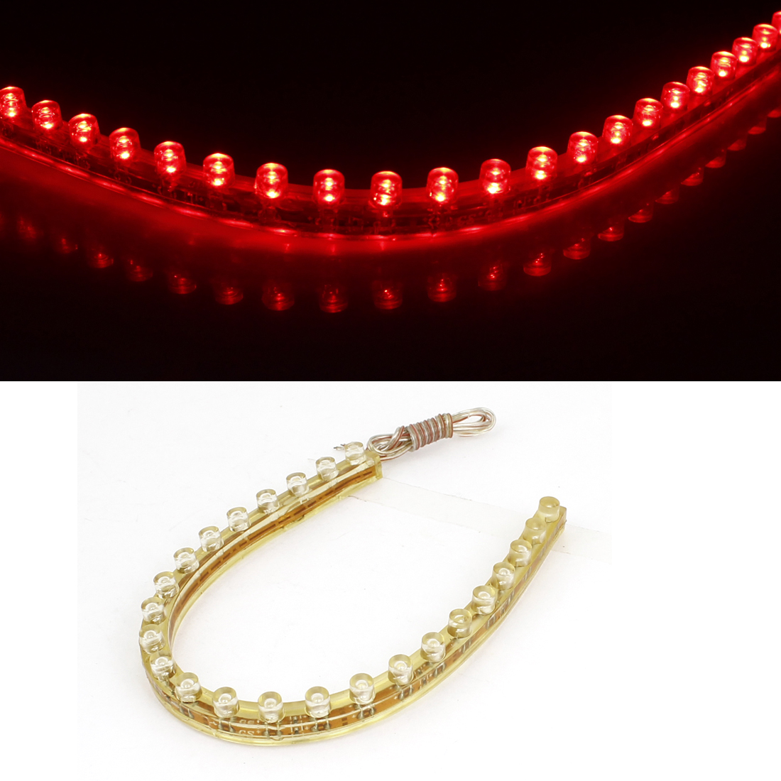 DC 12V Self Sticker PVC Red 24 LEDs Strip Light Lamp for Auto Vehicle