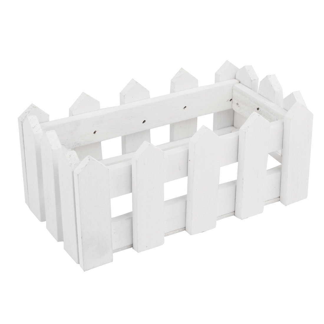 155mm Long White Rectangle Wood Fence Garden Flower Barrels Flowerpot