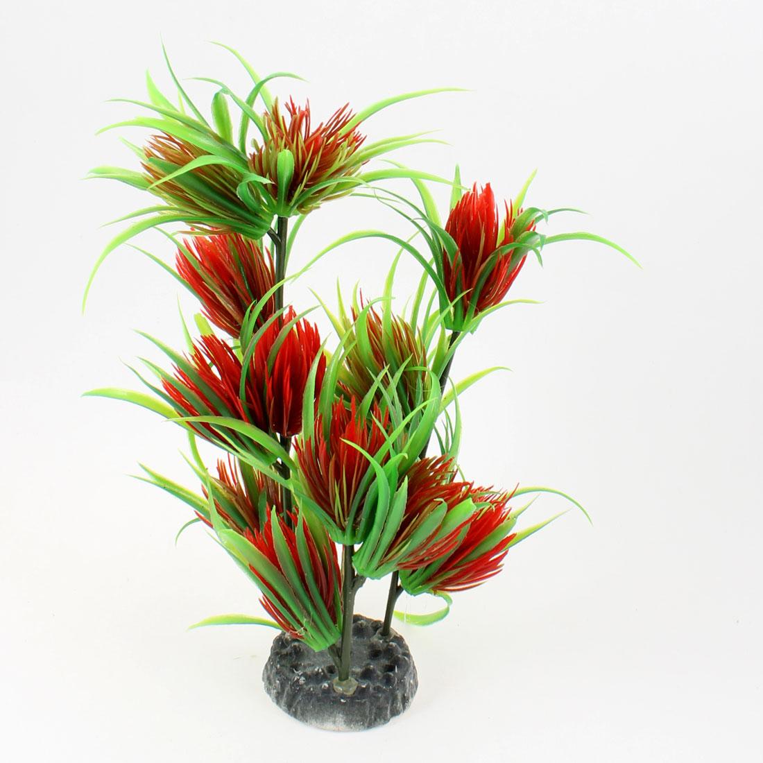 """Aquarium Ceramic Base 8.3"""" Height Carmine Green Artificial Plant Grass"""