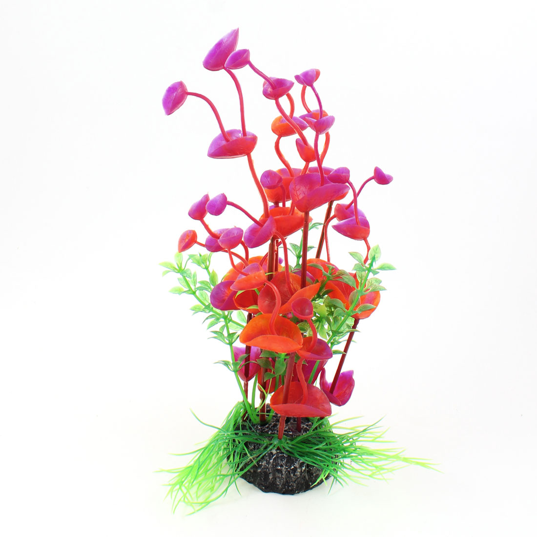 "Round Ceremic Base Red Fuchsia Aquatic Flower Plant 7.9"" Height for Aquarium"