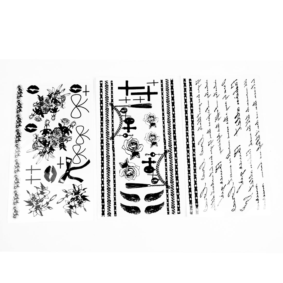 3 Pcs Black Flower Cross Lip Bowknot Pattern Transfer Tattoos Stickers Sheet