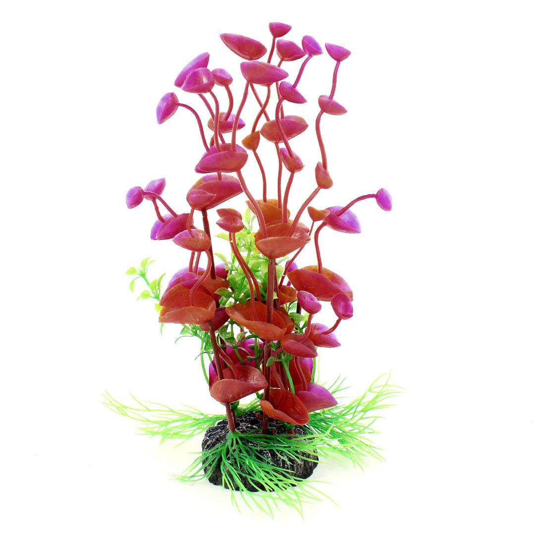 """Round Ceramic Base Red Fuchsia Aquatic Flower Plant 7.7"""" Height for Aquarium"""
