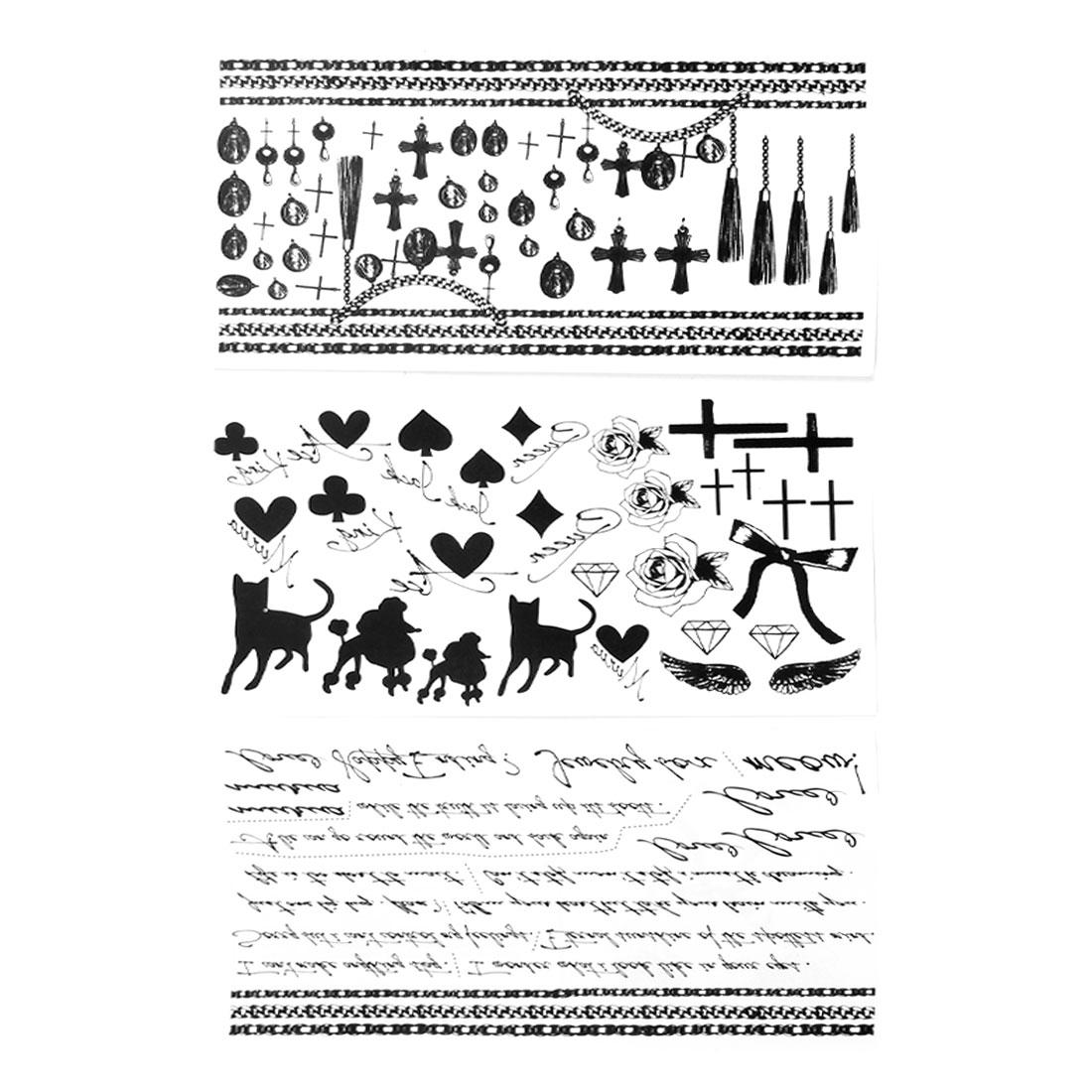 Skin Decor Black Flower Cross Heart Shape Pattern Transfer Tattoos Sticker 3 Pcs