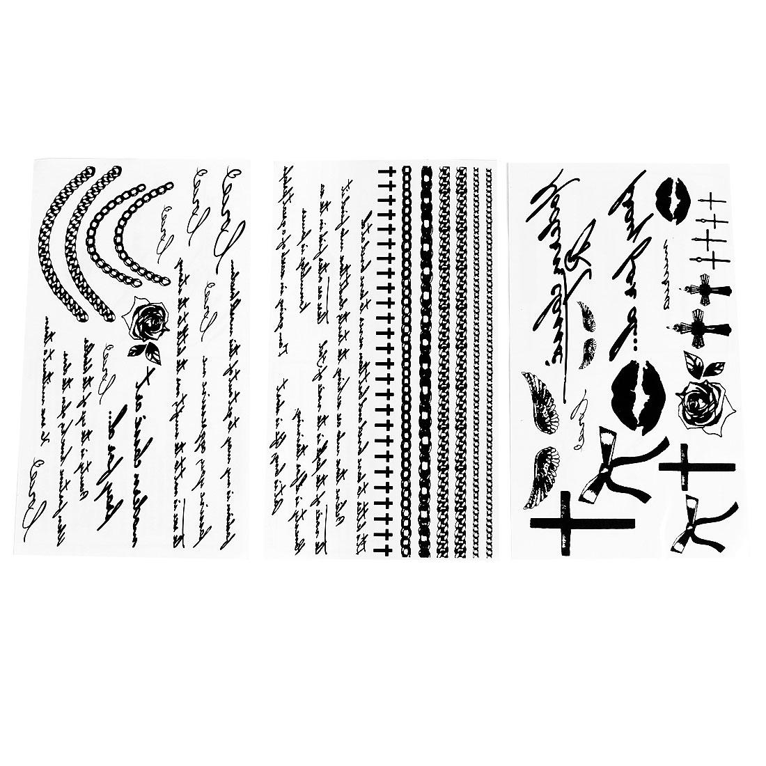 Black Bracelet Wordage Cross Bowknot Pattern Transfer Tattoos Stickers 3 Pcs