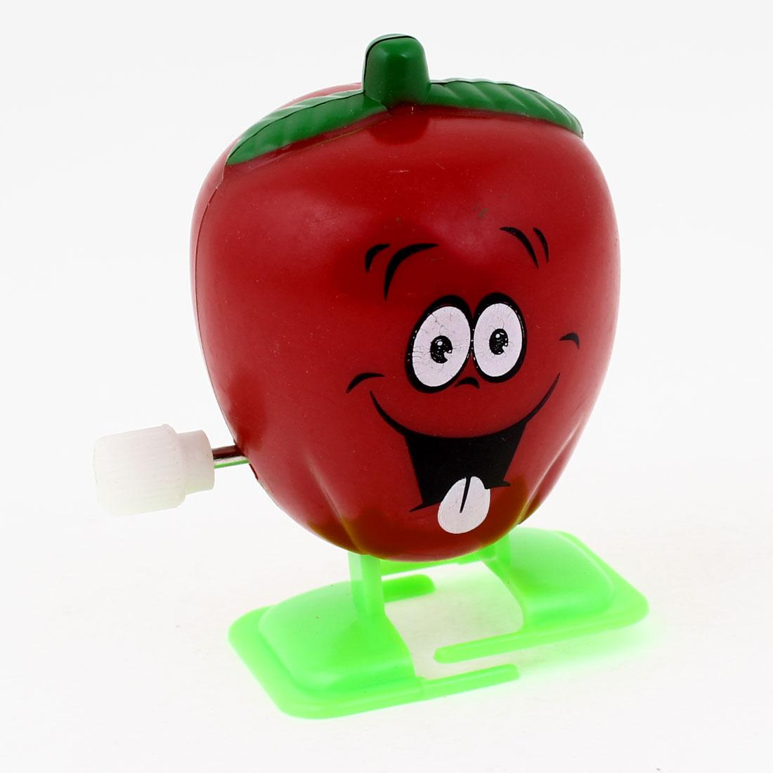 Children Kids Gift Red Apple Shape Plastic Artificial Walking Clockwork Toy