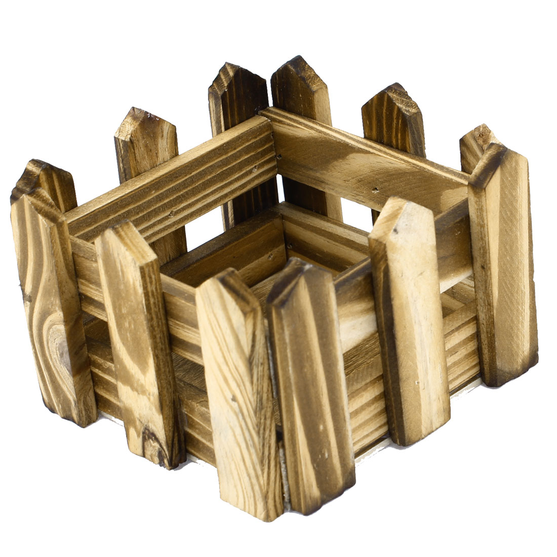 100mm Length Pale Yellow Brown Square Wood Fence Garden Flower Barrels Holder