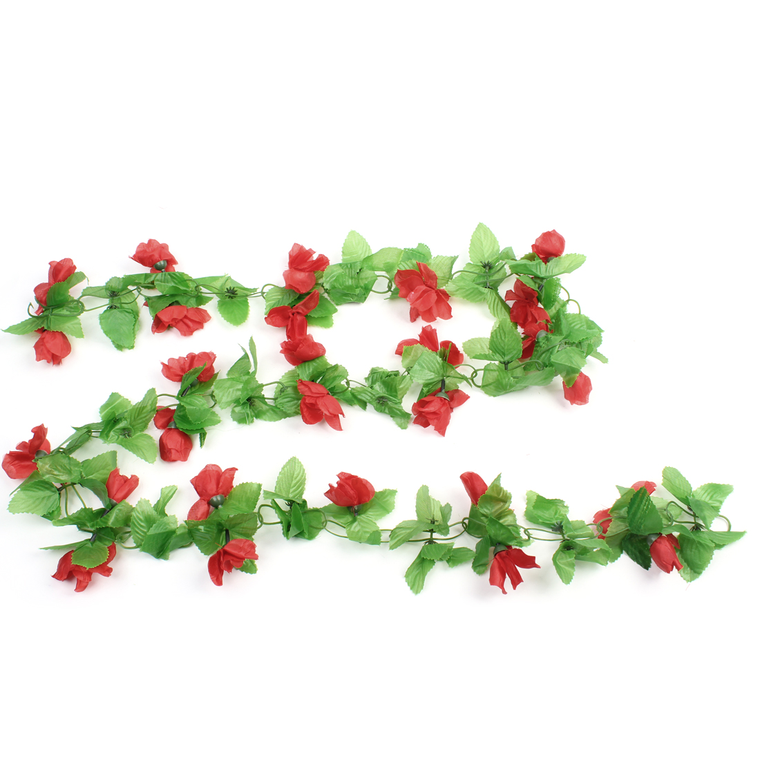 Green Leaf Carmine Rose Plastic Flower Wall Hanging Plant Vine 1.9M