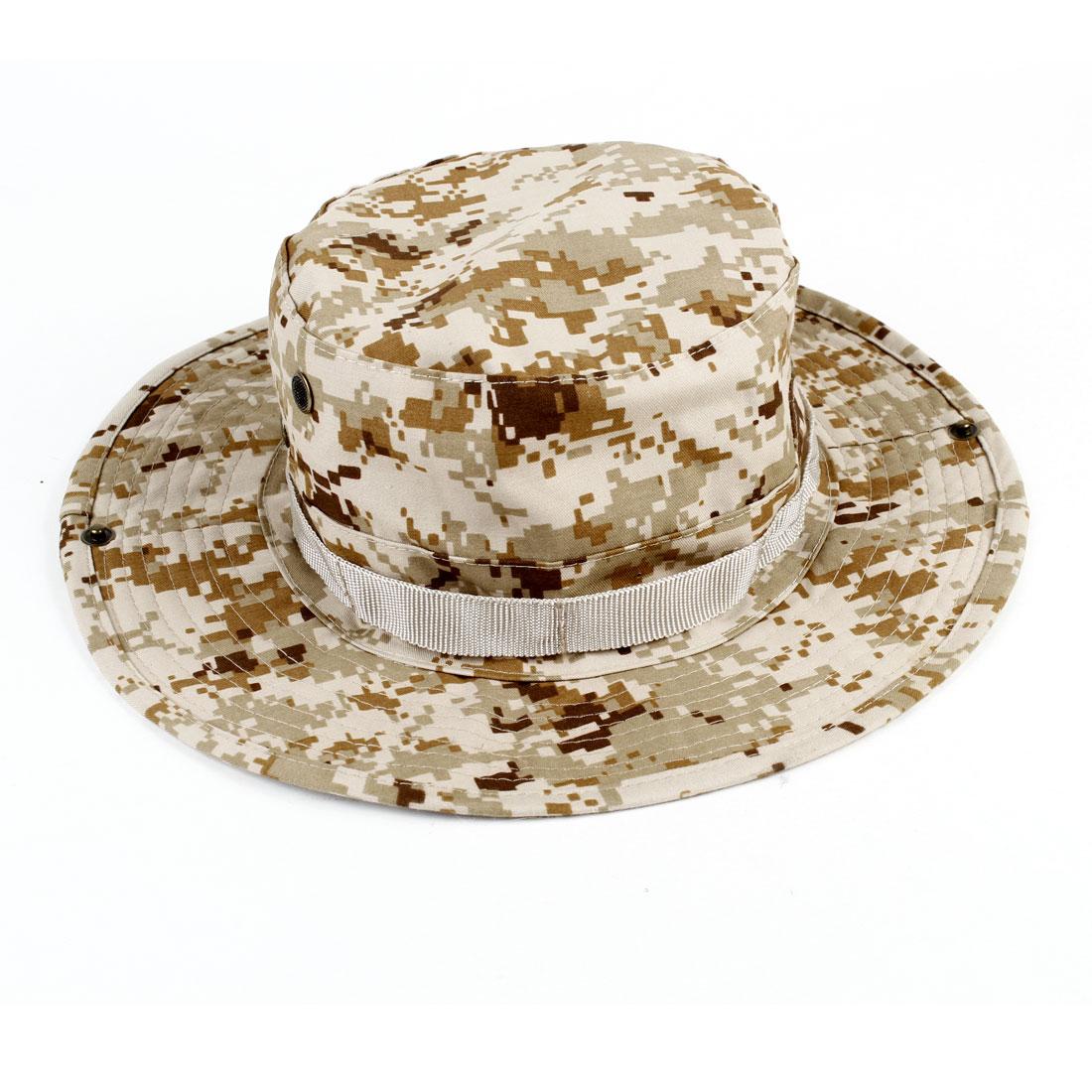 Beige Camouflage Pattern Stitch Detailing Bucket Hat Cap