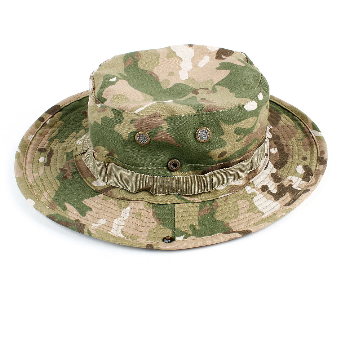 Ladies Men Army Green Camouflage Pattern Stitch Oranment Bucket Cap