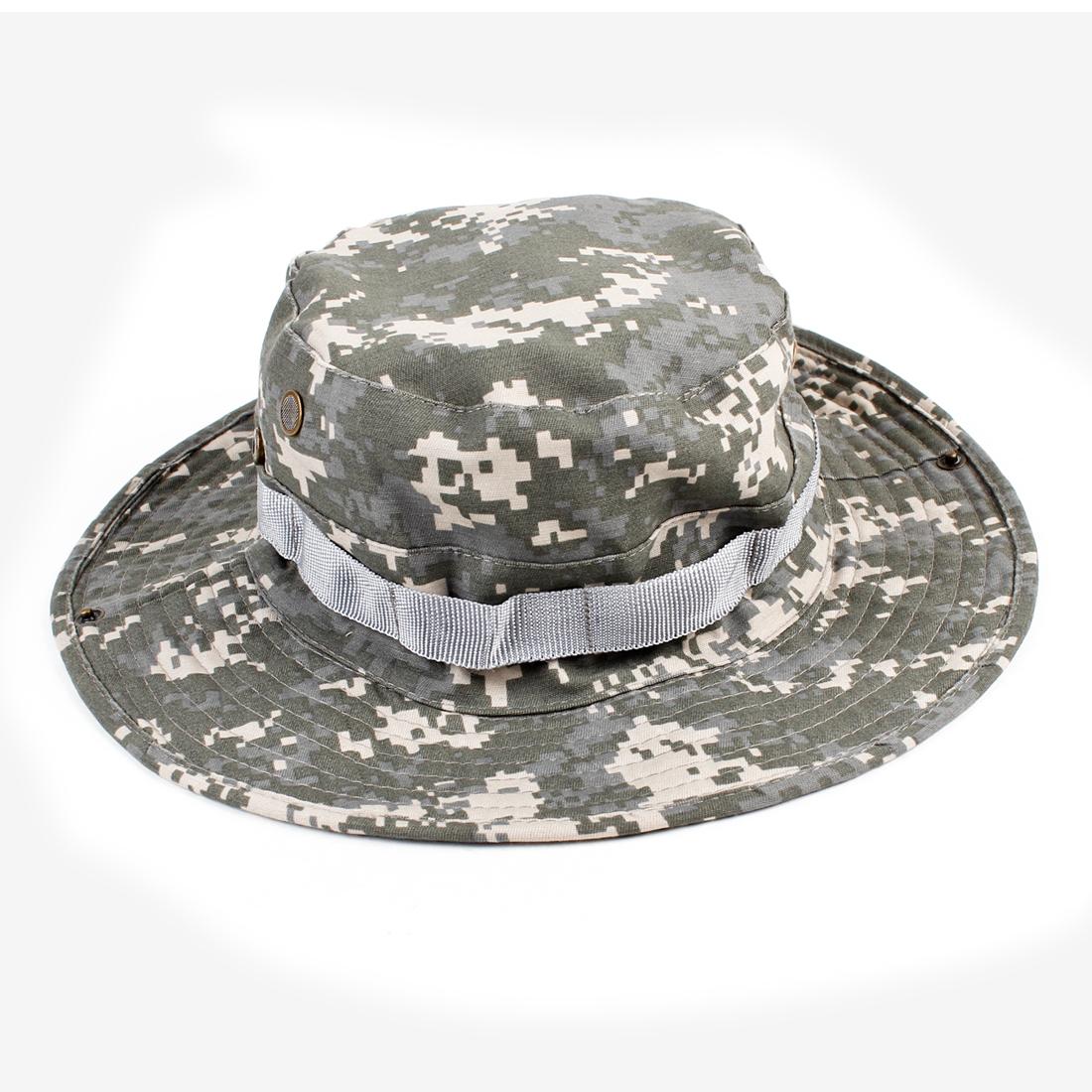Unisex Camouflage Printed Stitch Decoration Gray Bucket Hat Cap
