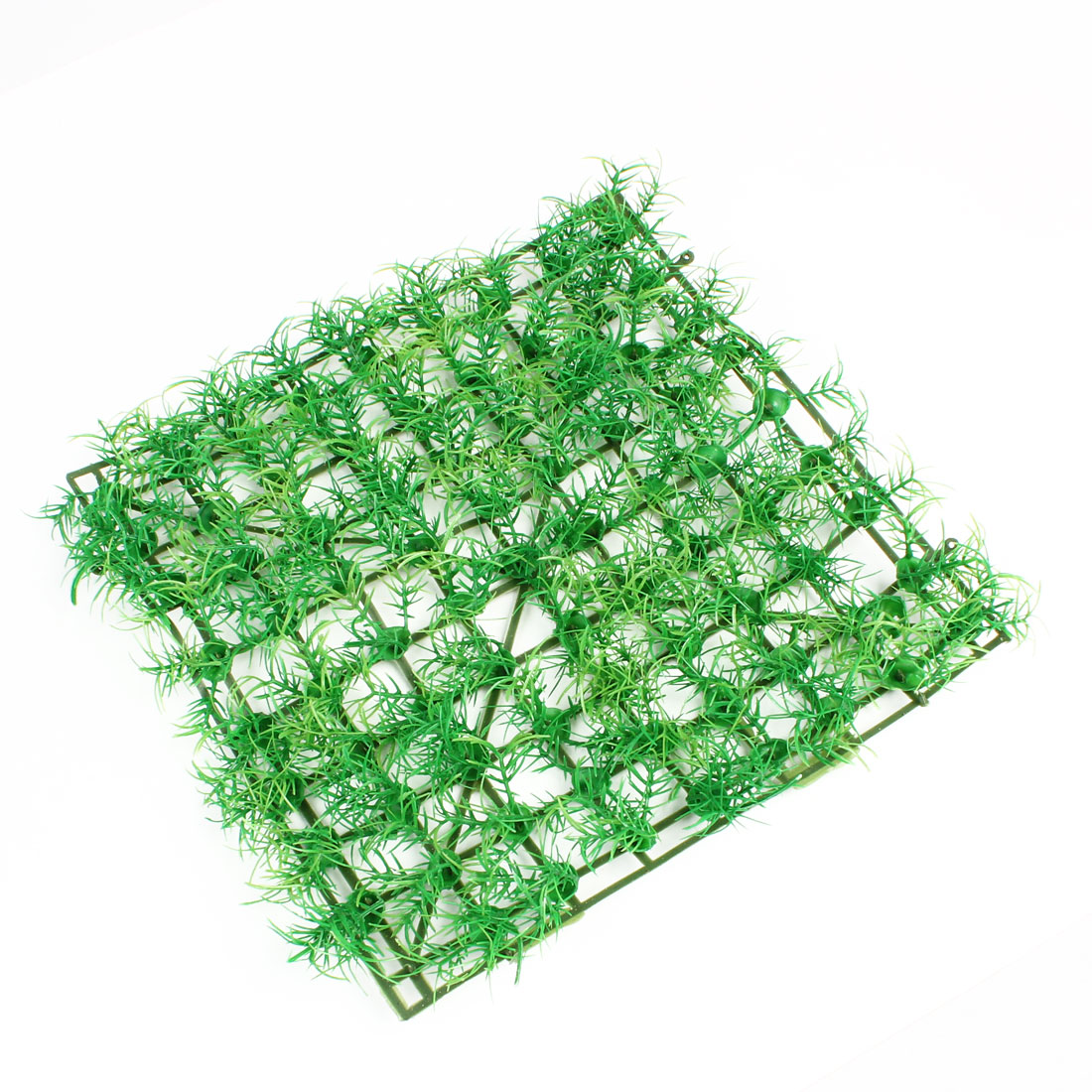 Fish Tank Aquarium Square 25cm x 25cm Plastic Green Faux Grass Lawn Ornament