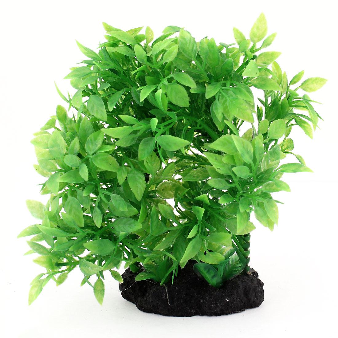 "Ceramic Base 5.9"" High Green Emulational Plastic Plants Grass for Fish Tank"