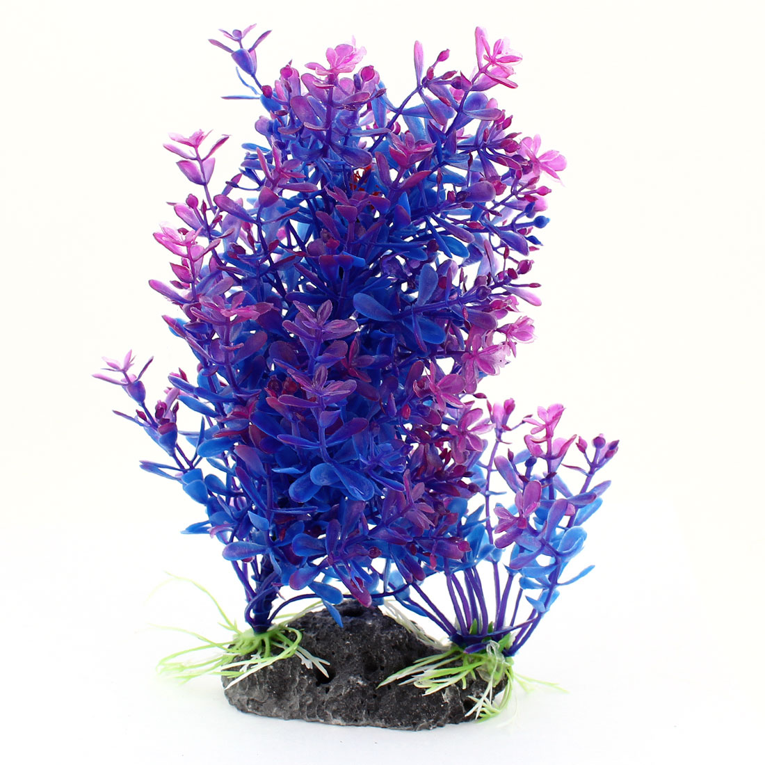 "Ceramic Base 7.9"" High Blue Purple Manmade Plastic Plant Grass for Fish Tank"