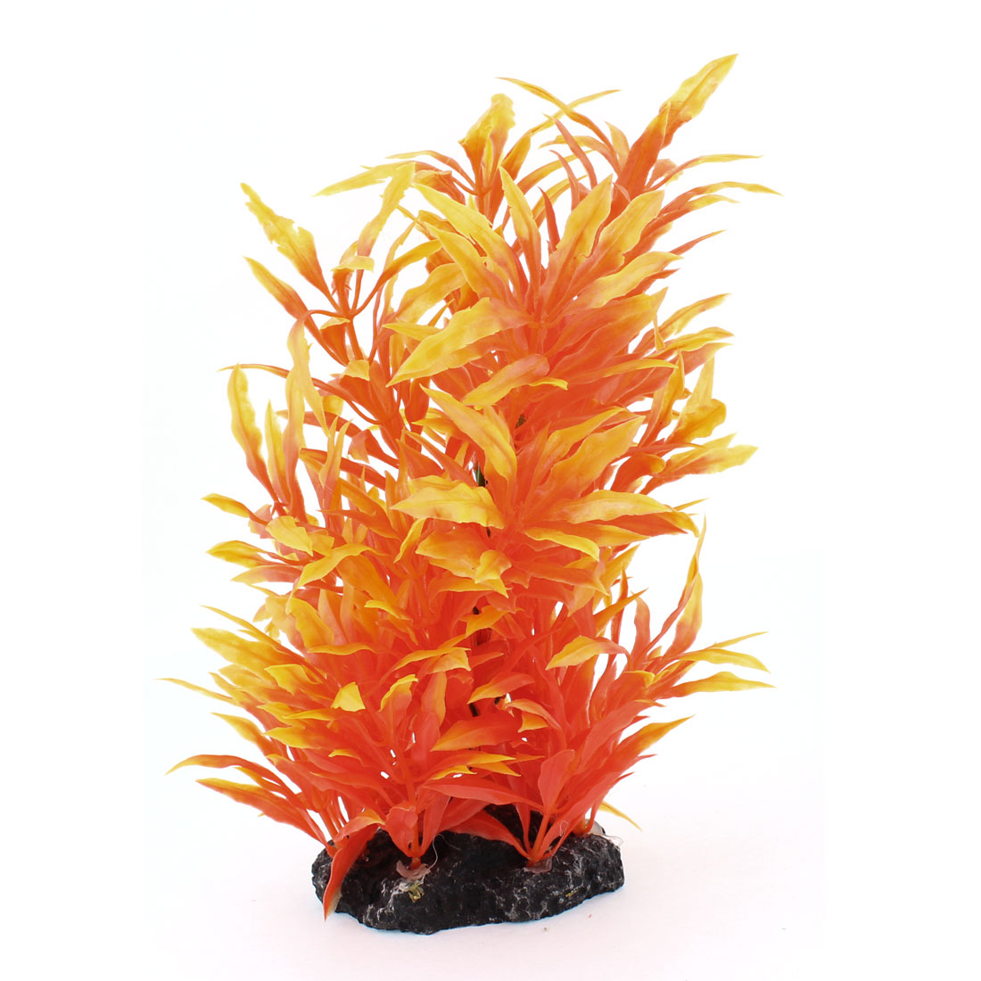 "8.3"" Height Artificial Orangered Grass Bush Decor Plastic Plant for Fish Tank"