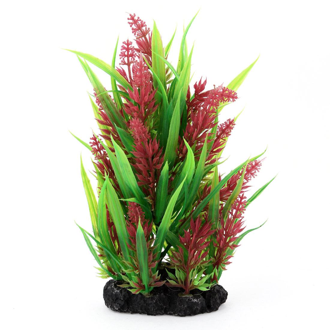 "Aquarium Fish Tank Decoration Red Green Plastic Aquatic Plant Grass 7.5"" Height"