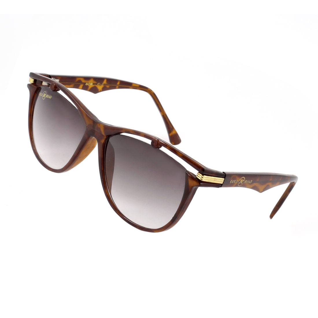 Oval Shape Lens Brown Full Frame Sunglasses for Woman