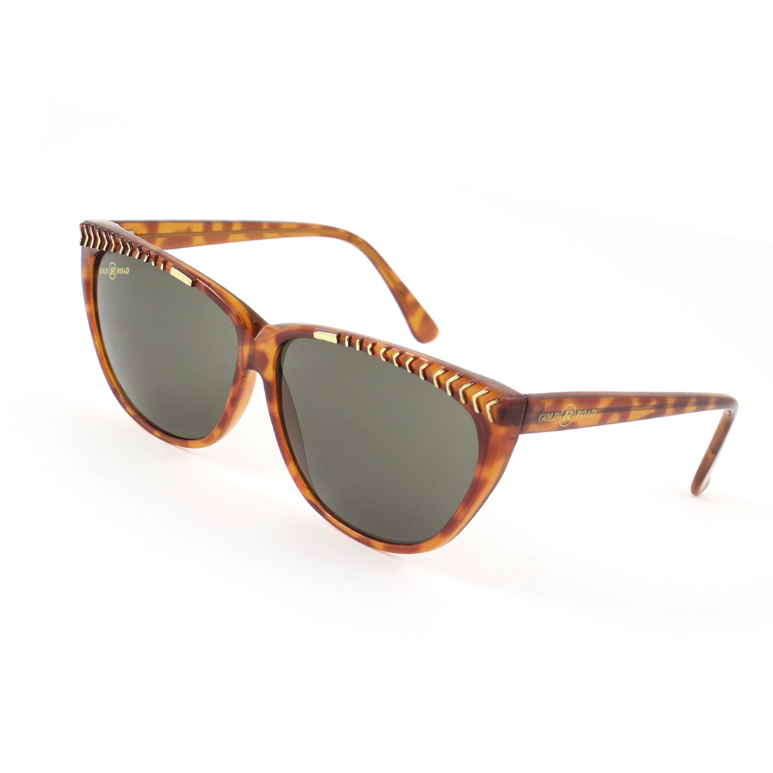 Gold Tone Arrow Shaped Vane Inlay Dark Brown Full Frame Sunglasses for Lady