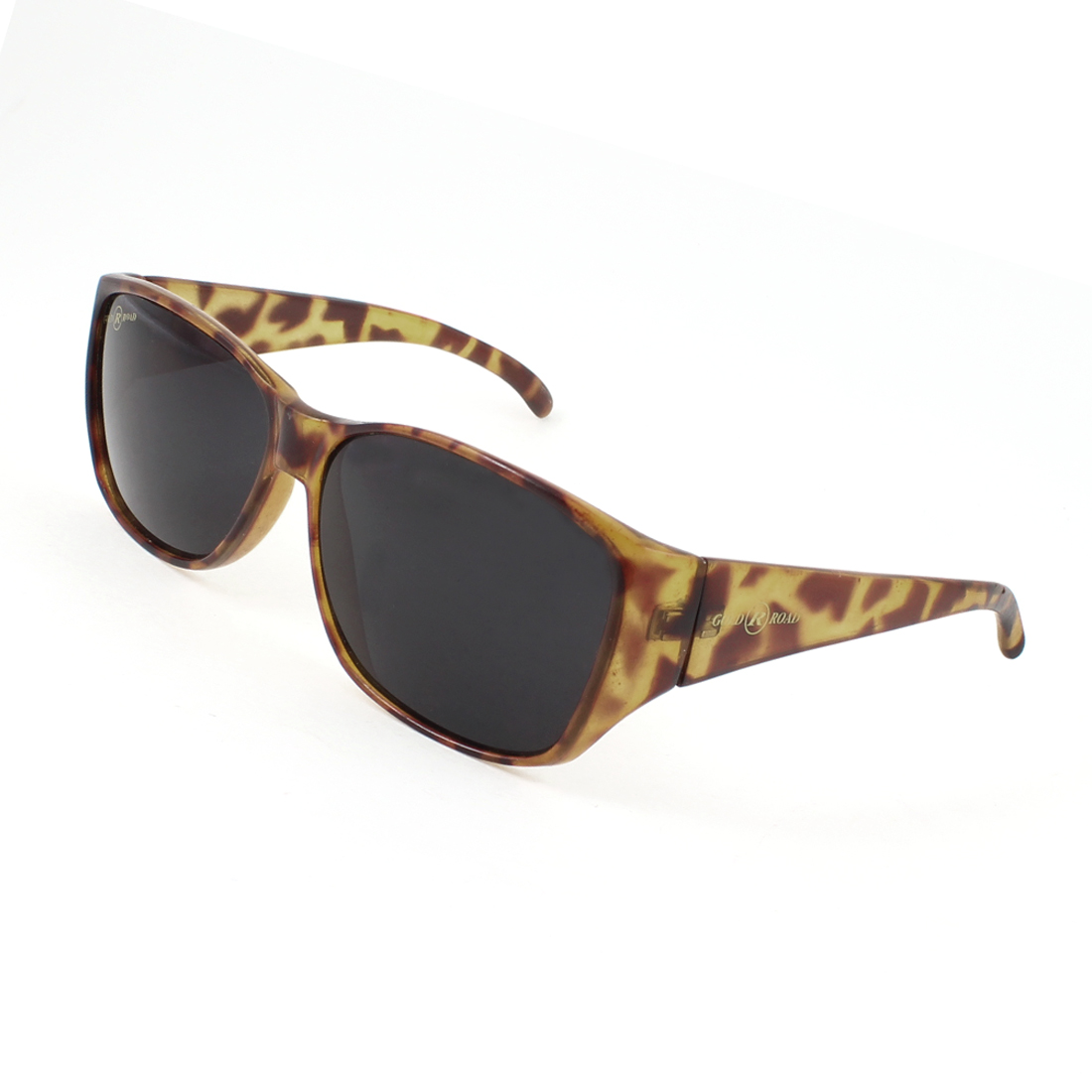 Black Oval Lens Dark Brown Leopard Print Full Frame Sports Sunglasses for Lady