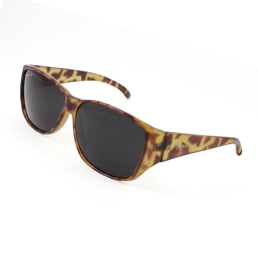 Black Oval Lens Dark Brown Leopard Print Full Frame Sports Sunglasses for Lady