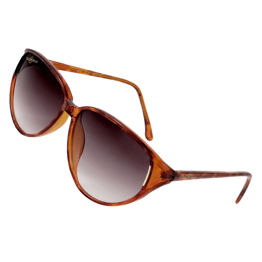 Dark Gray Oval Lens Brown Leopard Print Full Frame Plastic Sunglasses for Lady