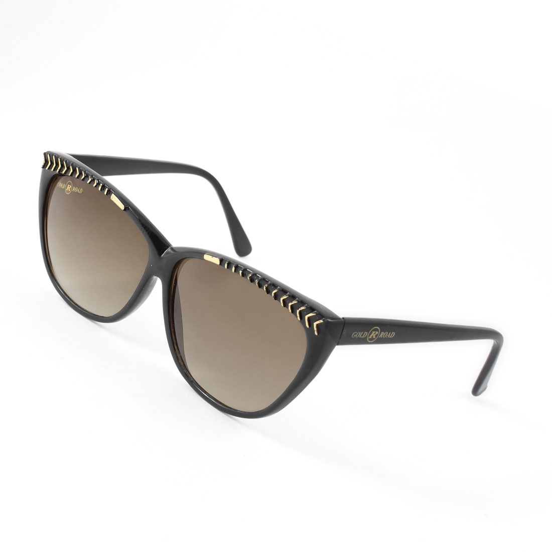 Oval Tinted Lens Black Full Frame Plastic Sunglasses for Ladies