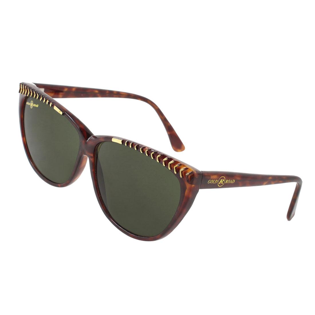 Oval Lens Dark Brown Leopard Pattern Full Frame Sunglasses for Woman