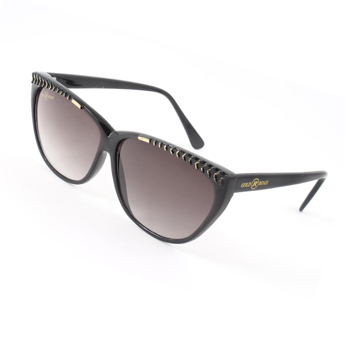 Black Oval Lens Black Full Frame Plastic Sports Sunglasses for Woman