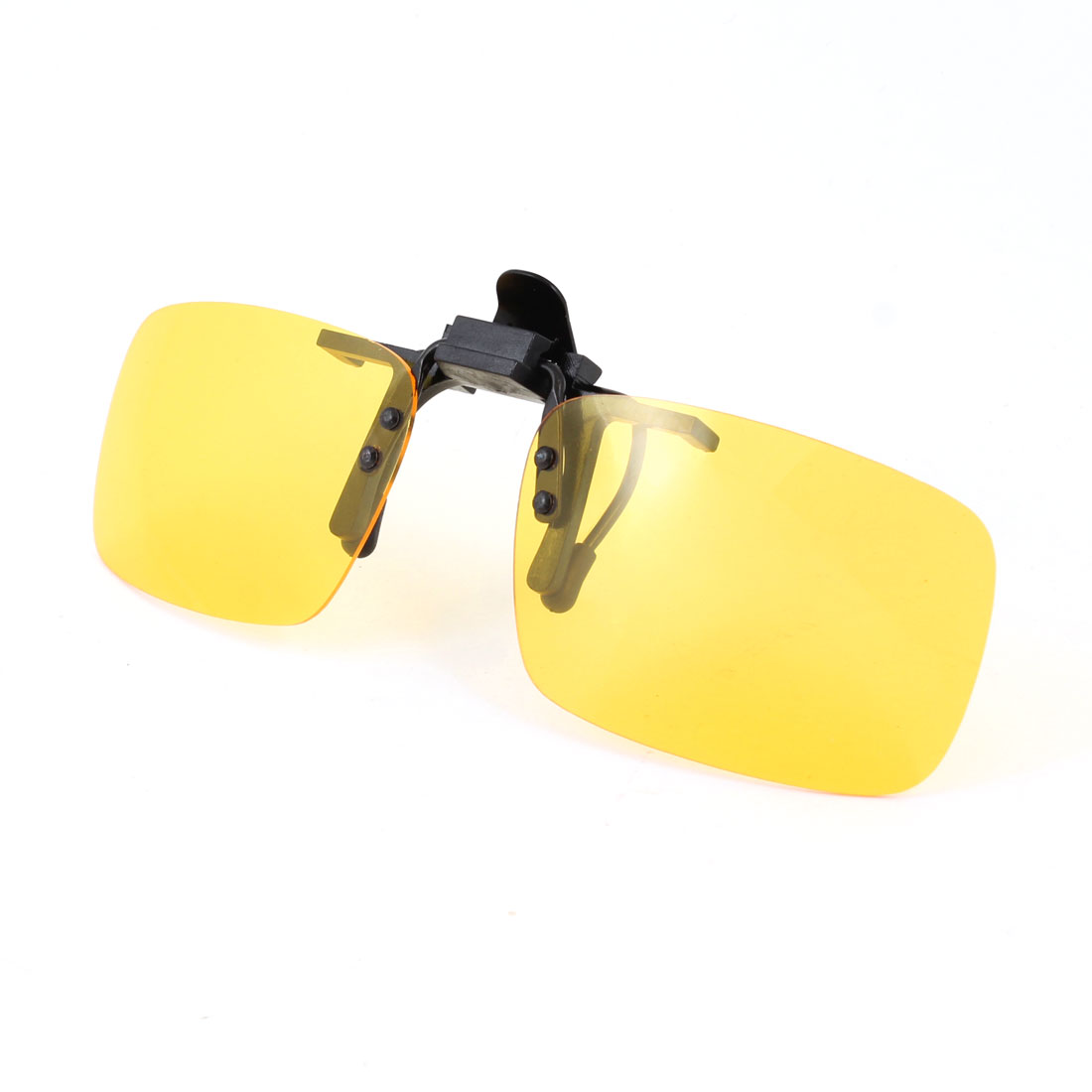 Clear Yellow Rectangle Lens Flip Up Clip On Polarized Sunglasses w Box