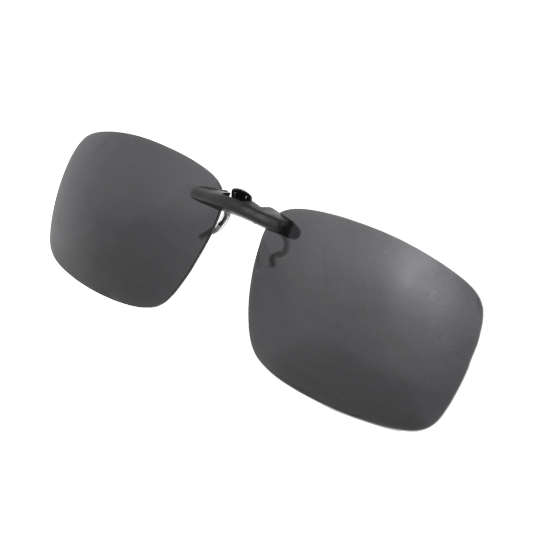 Dark Gray Rectangnle Lens Rimless Clip on Polarized Sunglasses w Case
