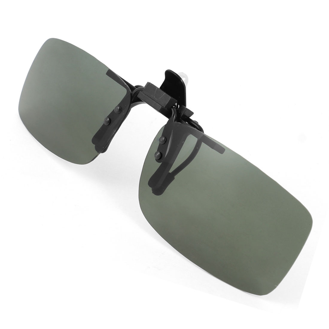 Clear Army Green Rectangle Lens Flip Up Clip On Polarized Sunglasses w Box