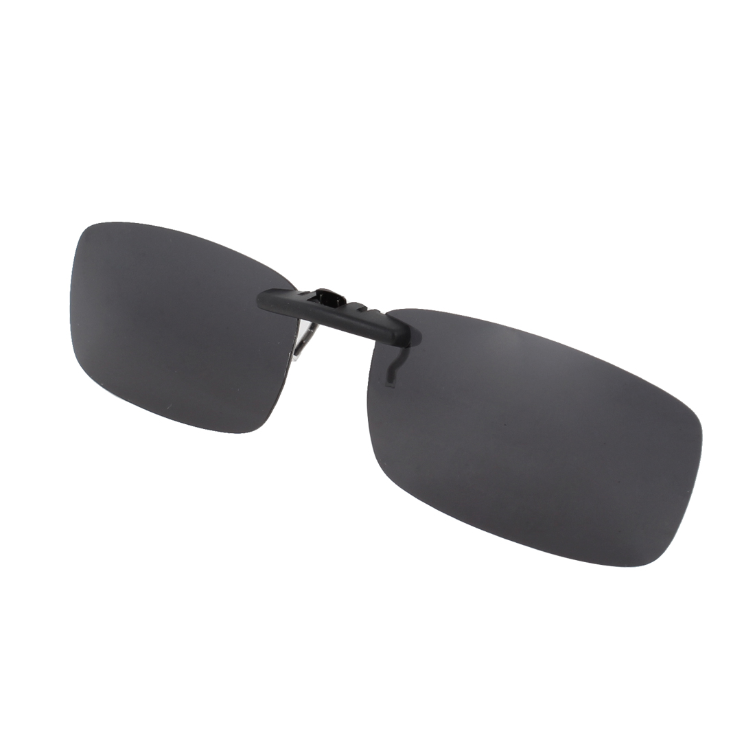 Unisex Clear Black Lens Rectangle Clip On Polarized Sunglasses w Case