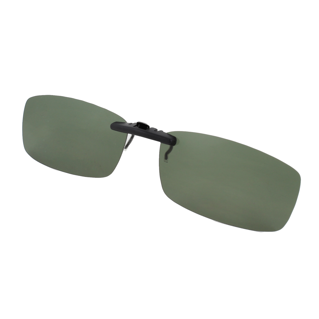 Unisex Clear Army Green Lens Rectangle Clip On Polarized Sunglasses w Case