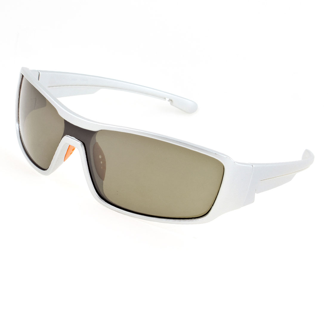 Silvery Tone Full Frame Plastic Sports Sunglasses for Man Woman