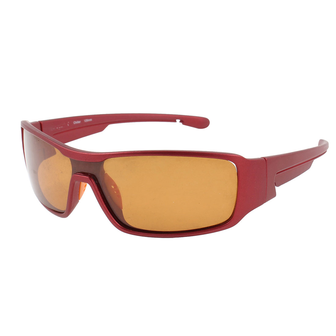 Woman Brown Rectangle Lens Burgundy Full Frame Sports Polarized Sunglasses