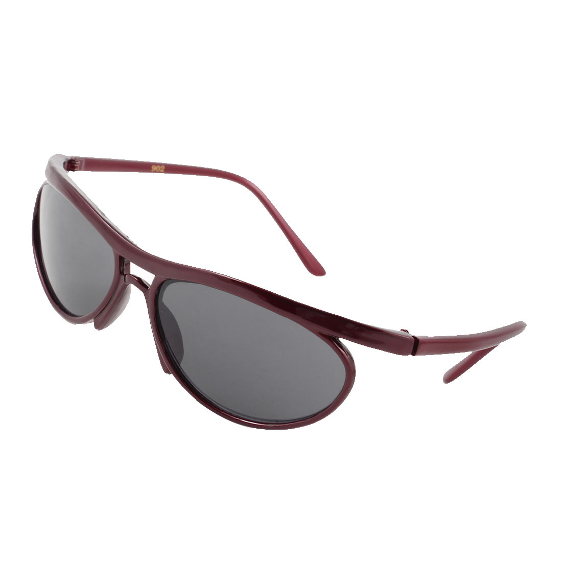 Woman Accessory Oval Lens Carmine Full Frame Plastic Sunglasses