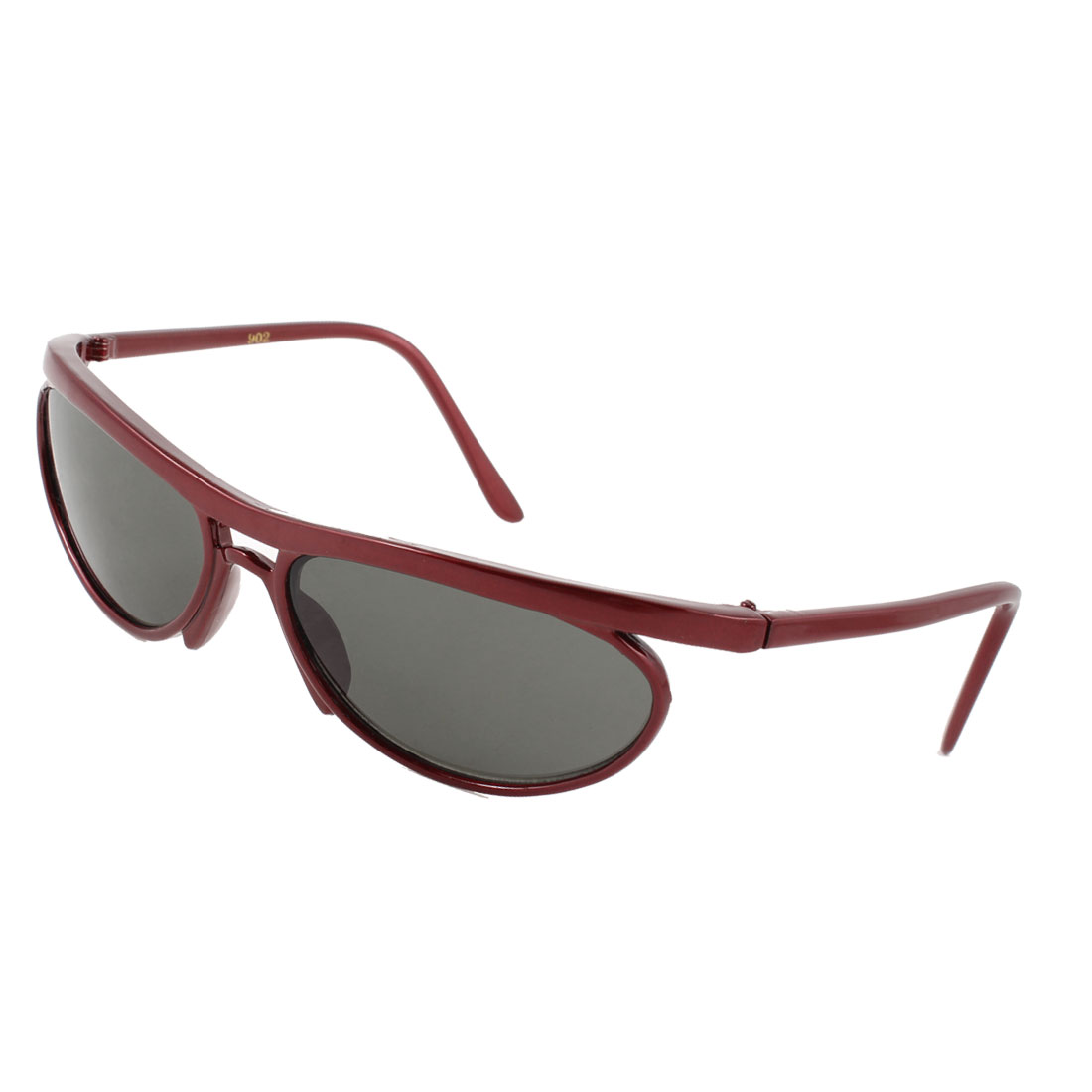 Outdoor Sports Oval Colored Lens Dark Red Full Frame Sunglasses for Lady