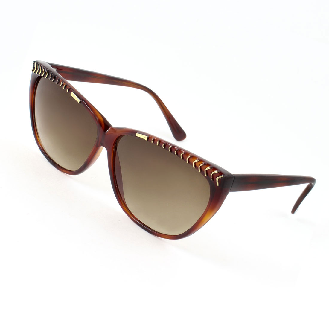 Gold Tone Arrowhead Shaped Inlay Dark Brown Full Frame Sunglasses for Woman
