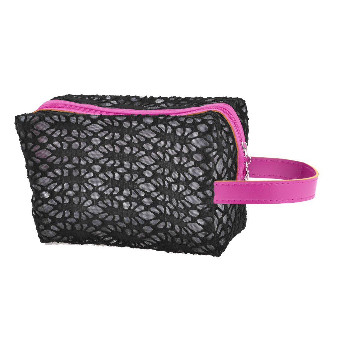 Women Black Hollow Out Mesh Design Cosmetic Bag Pouch Holder w Fuchsia Strap