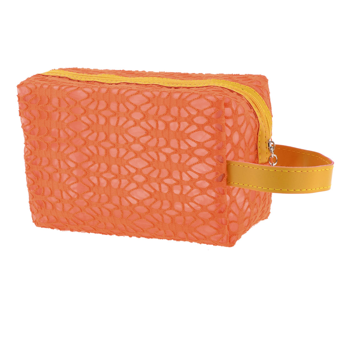 Women Orange Hollow Out Mesh Design Cosmetic Bag Pouch Holder w Yellow Strap
