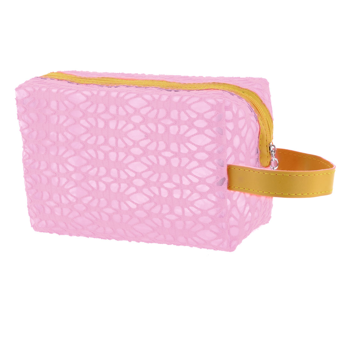 Yellow Faux Leather Strap Pink Cut Out Mesh Zippered Makeup Cosmetic Bag Case