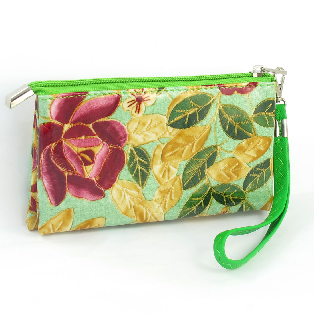Woman Lobster Clasp Green Detachable Strap Zippered Nylon Lining Wallet Holder