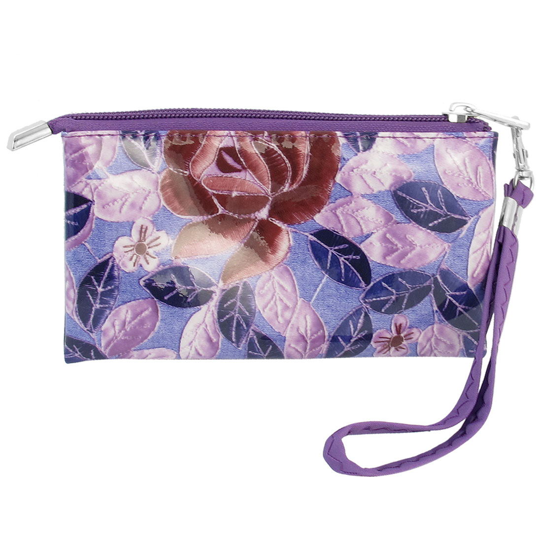Leaf Pattern Purple Faux Leather Zip Up 3 Compartments Wallet Purse for Ladies