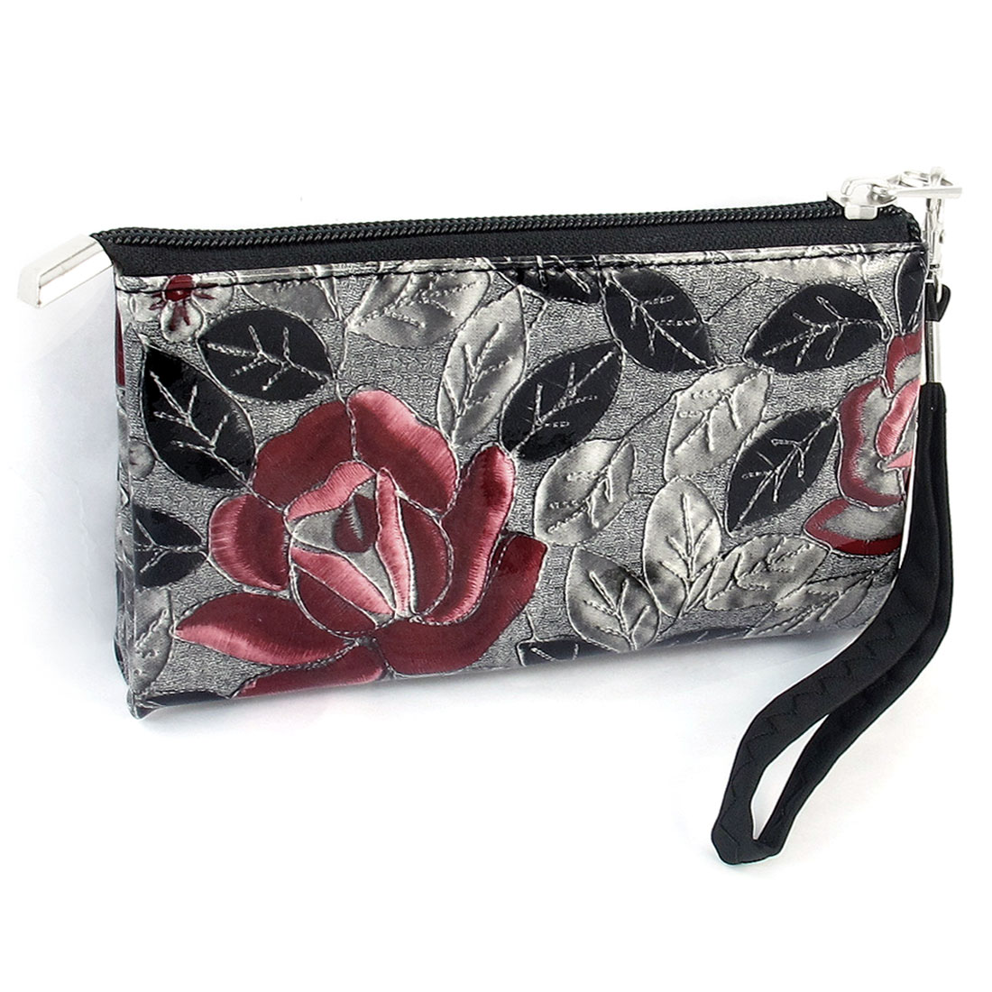 Women Red Rose Print Black Faux Leather Zipper Closure Purse w Wrist Strap