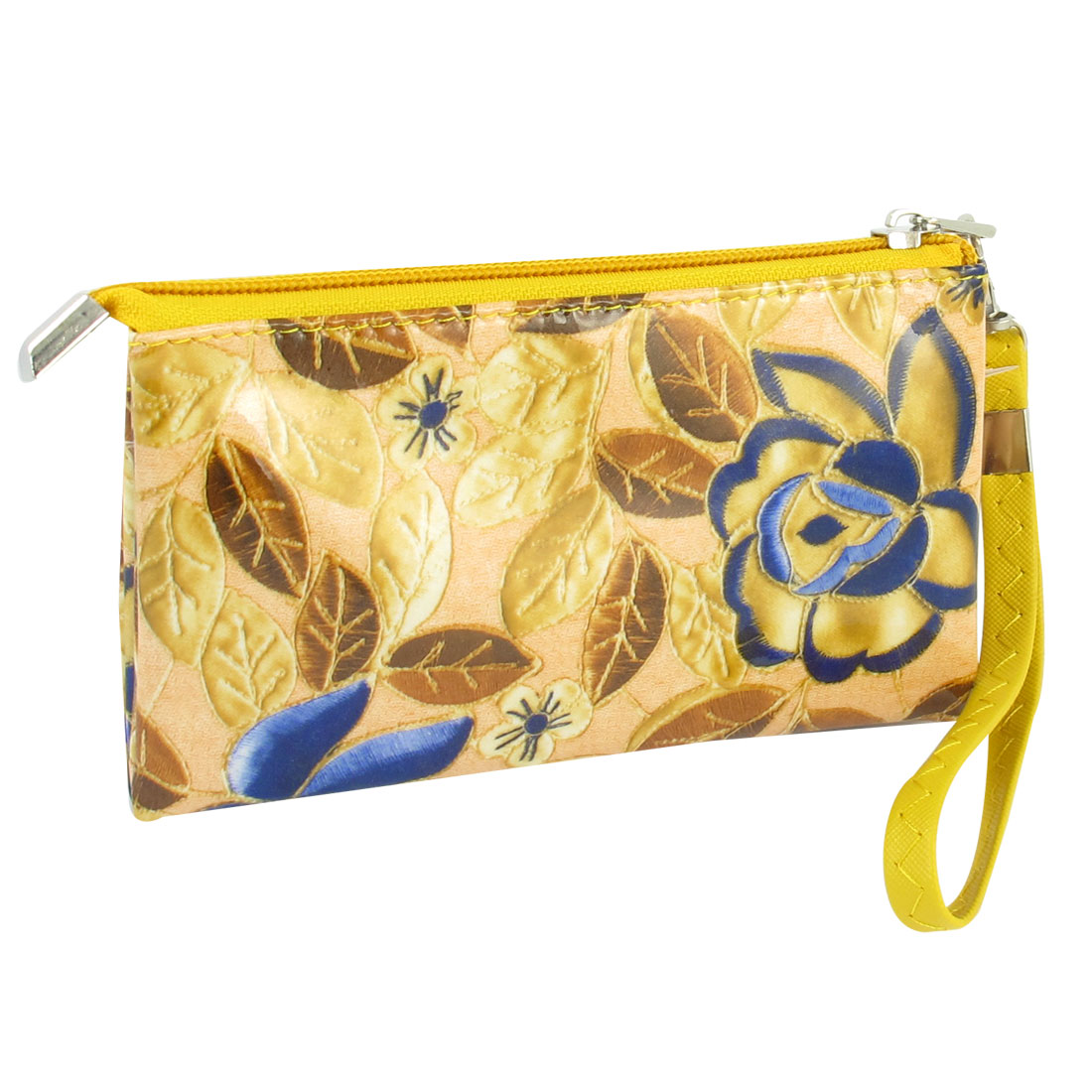 Woman Lobster Clasp Yellow Detachable Strap Zippered Nylon Lining Wallet Holder