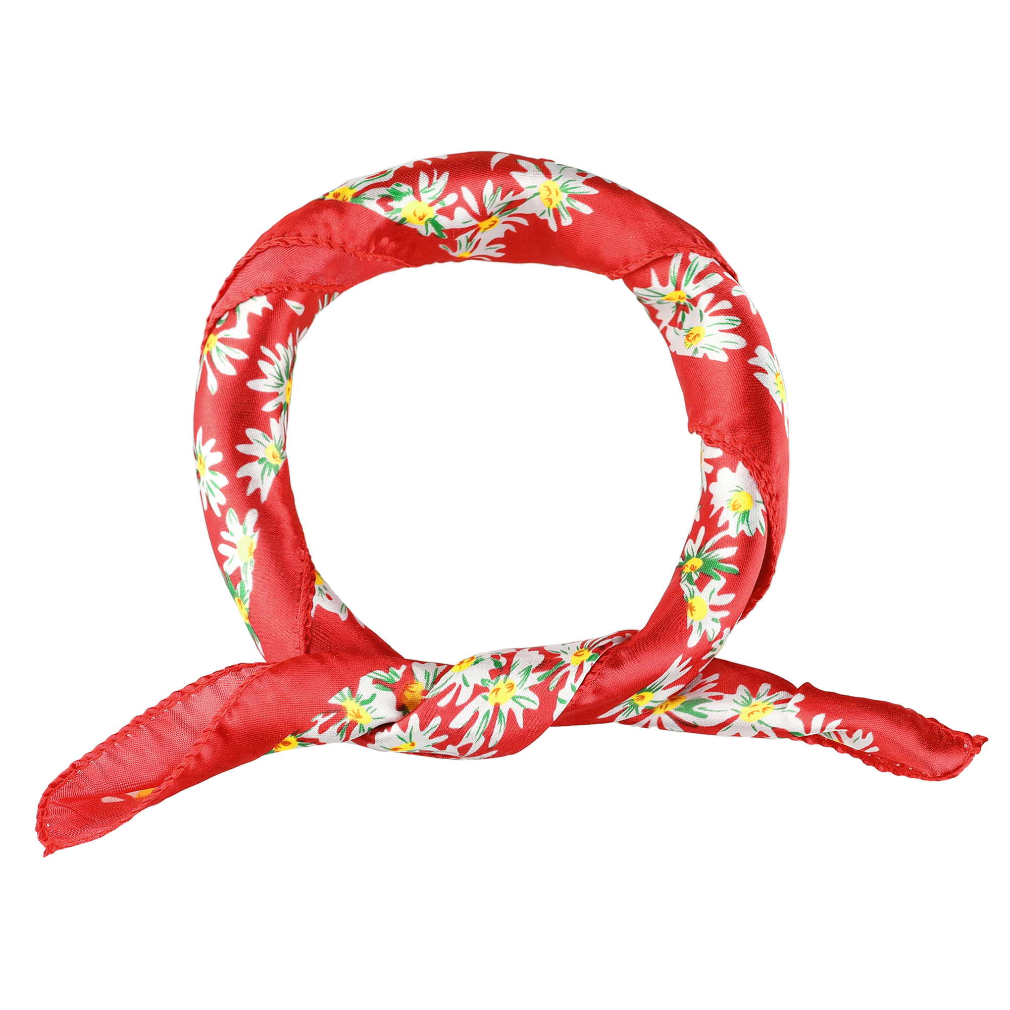 Spring Fall Flowers Print Dark Red Square Kerchief Neckercheif Neck Scarf for Ladies