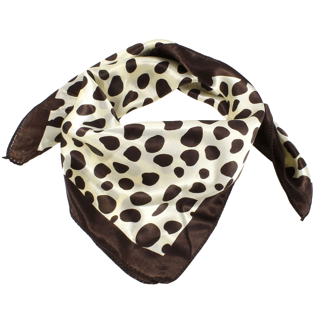 Beige Dark Brown Irregular Dots Print Square Neckercheif Neck Scarf for Lady