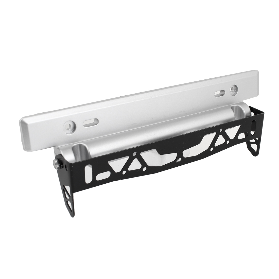 Auto Car Adjustable Angle Silver Tone Black License Plate Holder Bracket